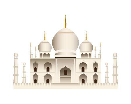 taj mahal mosque temple icon vector illustration design