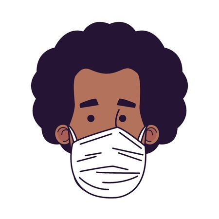 young afro man wearing medical mask head character vector illustration design