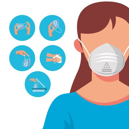 how to remove the surgical mask covid19 infographic vector illustration design Ilustración de vector