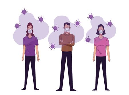 young people wearing medical masks characters vector illustration design Vectores