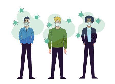 young interracial men wearing medical masks characters vector illustration design