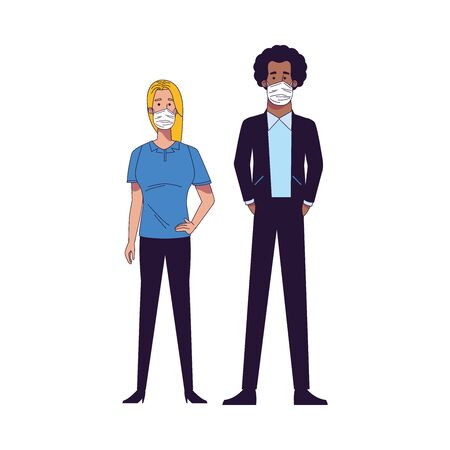 interracial couple wearing medical masks characters vector illustration design