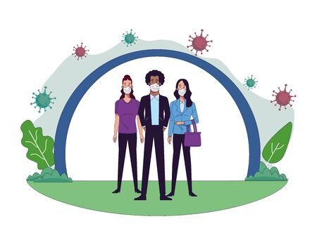young interracial people wearing medical masks characters vector illustration design
