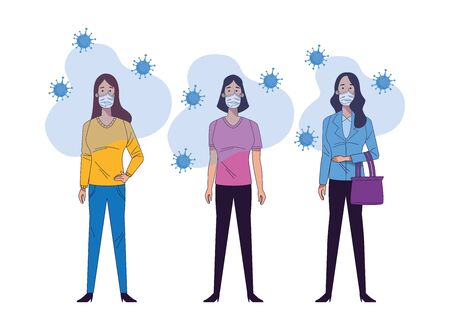 young women wearing medical masks characters vector illustration design