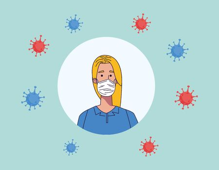 young woman wearing medical mask character vector illustration design