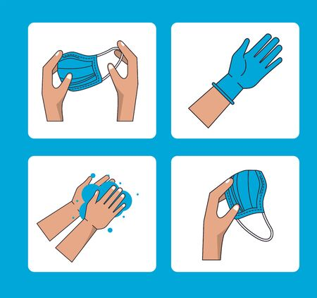 how to remove the surgical mask covid19 infographic vector illustration design