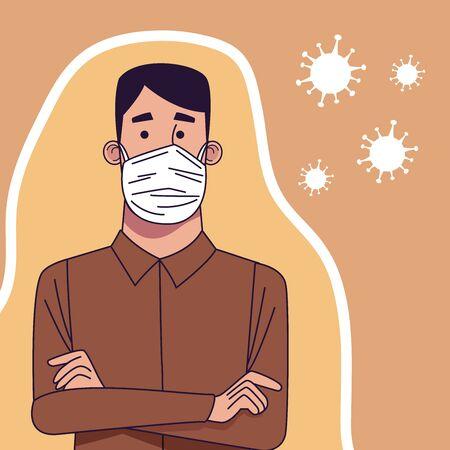 young man wearing medical mask character vector illustration design