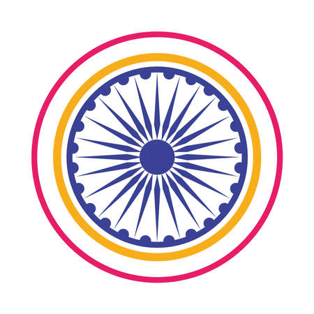 chakra Ashoka hindu decoration icon vector illustration design