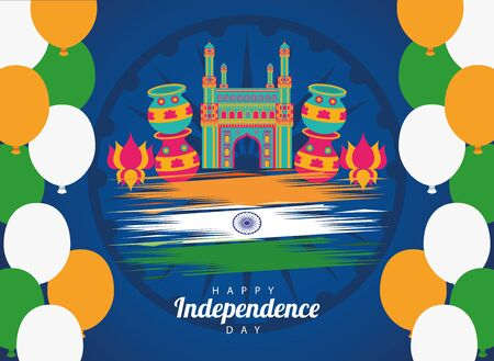 india happy independence day celebration card with temple and flag vector illustration design
