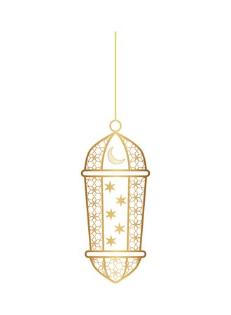 ramadan kareem lamp golden hanging vector illustration design Çizim