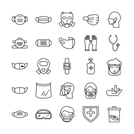 bundle of covid19 and equipment protection icon vector illustration design  イラスト・ベクター素材