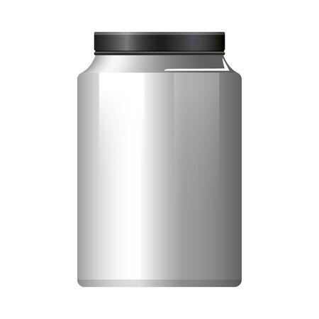 pot bottle product with metalic gray color vector illustration design Vectores