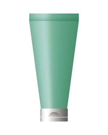 cream bottle product with metalic green color vector illustration design