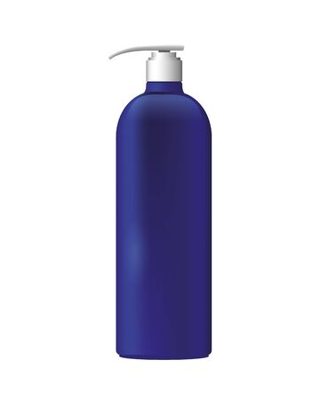 bottle with push dispenser product with metalic purple color vector illustration design