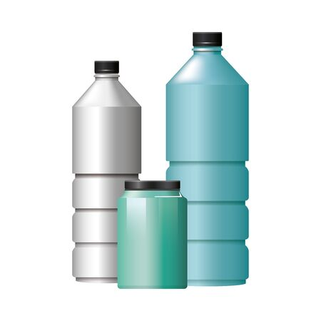 bottles products with metalic set colors vector illustration design Vectores