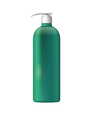 bottle with push dispenser product with metalic green color vector illustration design
