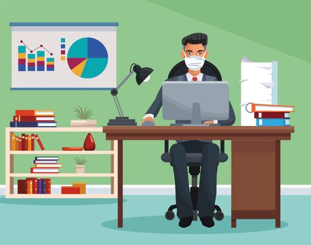 businessman working and wearing medical mask vector illustration design