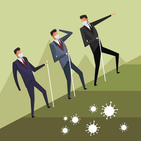 businessmen wearing medical mask climbing vector illustration design Ilustração