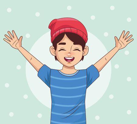 happy young boy avatar character vector illustration design  イラスト・ベクター素材