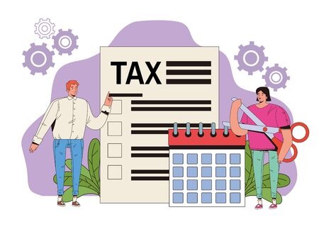 young couple with tax and calendar vector illustration design