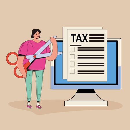 young woman with tax and computer character vector illustration design