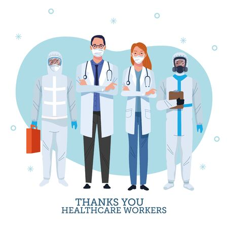 group of healthcare workers characters with thank you message vector illustration design