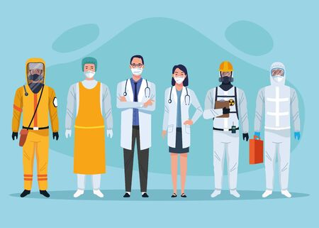 group of medical staff healthcare workers characters vector illustration design