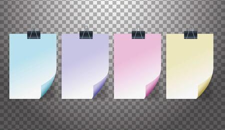 set of attachment banners paper icons vector illustration design