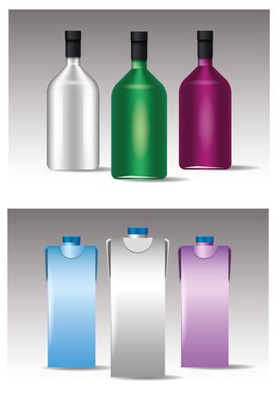 set of glass and tetrapak colors bottles products vector illustration design