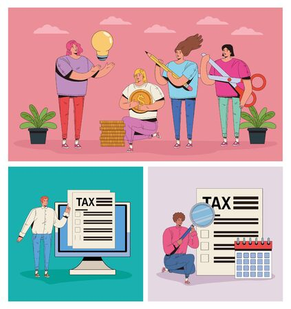 group of people with taxes and money icons vector illustration design