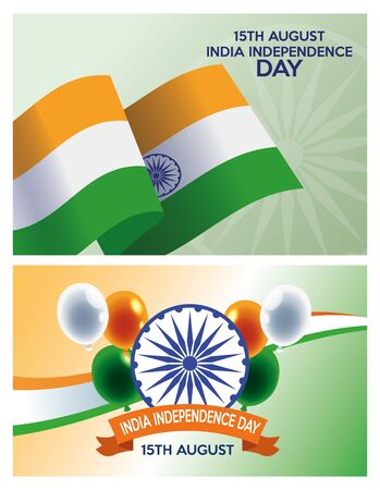 India independence day celebration with flags and set icons vector illustration design