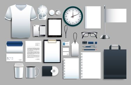 set of white elements with stationery templates vector illustration design