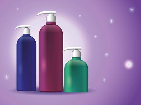 set of plastic bottles products with push dispenser vector illustration design