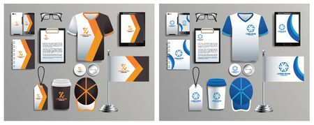 set of brown and blue elements with stationery templates vector illustration design