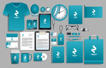 set of blue elements with stationery templates vector illustration design Vettoriali