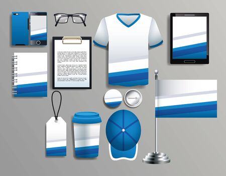 set of blue and white elements with stationery templates vector illustration design Ilustrace