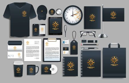 set of black elements with stationery templates vector illustration design