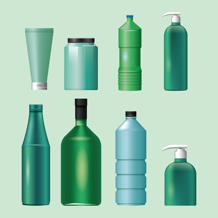 set of materials and styles bottles products vector illustration design 向量圖像