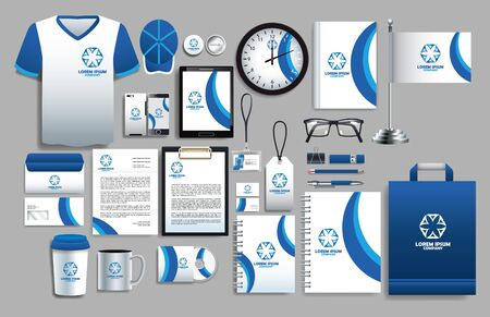 set of blue and white elements with stationery templates vector illustration design
