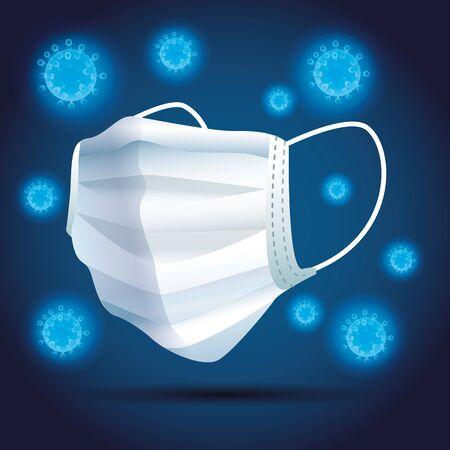white medical mask breathing protective respiratory vector illustration design
