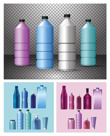 set of materials and styles bottles products vector illustration design