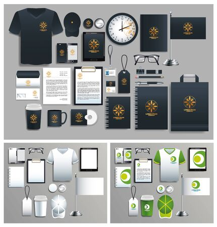 set of green and black elements with stationery templates vector illustration design Ilustrace