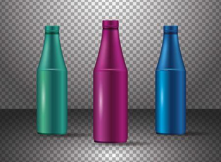 set of glass colors bottles products vector illustration design