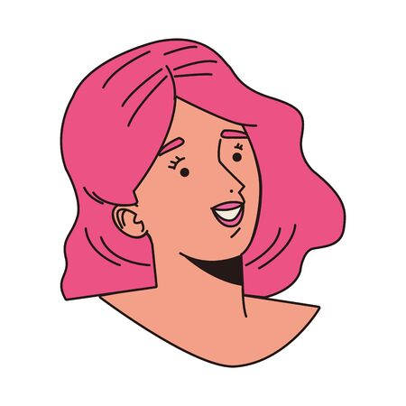 young woman female head with pink hair character vector illustration design