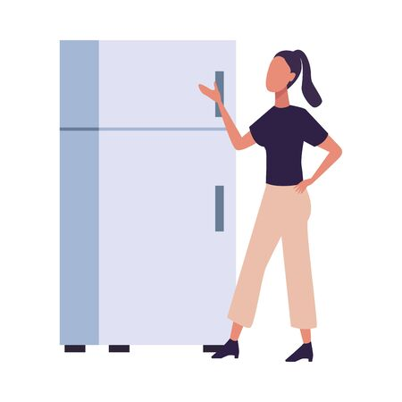 young woman fashion wear with fridge character vector illustration design