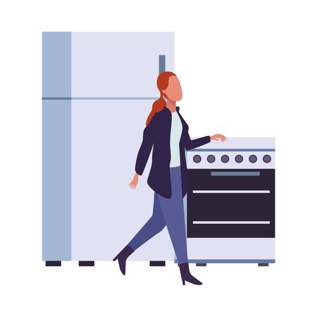 young woman fashion wear with fridge and oven character vector illustration design
