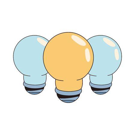 set bulbs lights idea isolated icons vector illustration design Vettoriali
