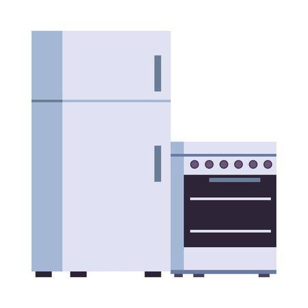 fridge and oven kitchen appliances isolated icon vector illustration design