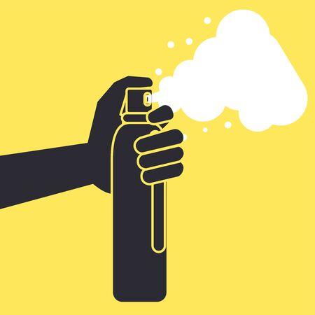 hand with splash spray bottle disinfectant icon vector illustration design