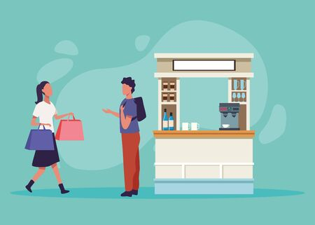 young couple shopping activity characters vector illustration design
